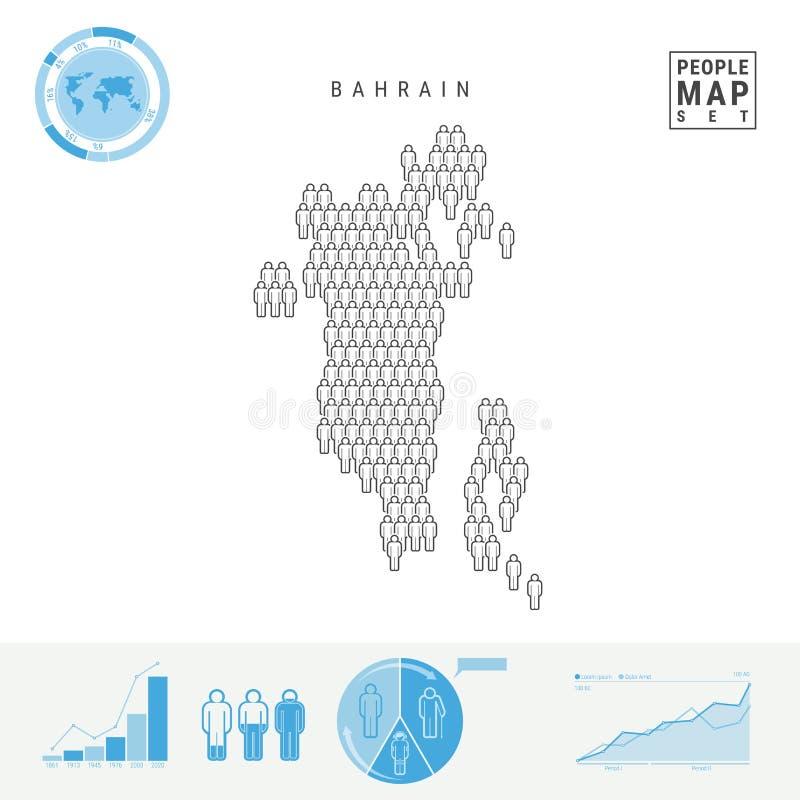 Mapa do ícone dos povos de Barém Silhueta estilizado do vetor de Barém Crescimento demográfico e envelhecimento Infographics ilustração stock