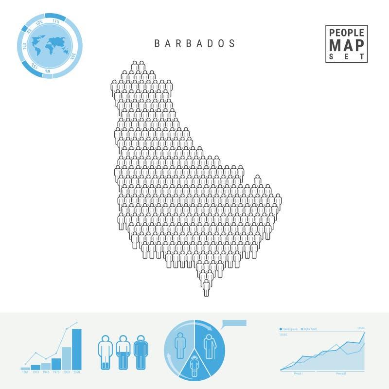 Mapa do ícone dos povos de Barbados Silhueta estilizado do vetor de Barbados Crescimento demográfico e envelhecimento Infographic ilustração do vetor