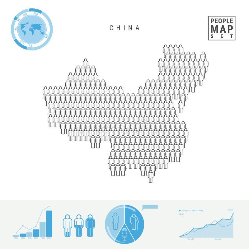 Mapa do ícone dos povos de China Silhueta estilizado do vetor de China Crescimento demográfico e envelhecimento Infographics ilustração royalty free