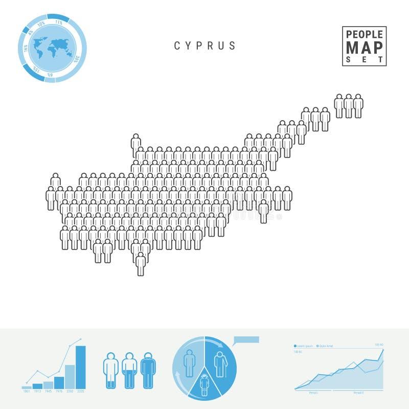 Mapa do ícone dos povos de Chipre Silhueta estilizado do vetor de Chipre Crescimento demográfico e envelhecimento Infographics ilustração royalty free