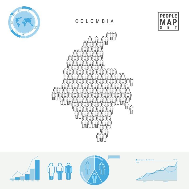 Mapa do ícone dos povos de Colômbia Silhueta estilizado do vetor de Colômbia Crescimento demográfico e envelhecimento Infographic ilustração stock