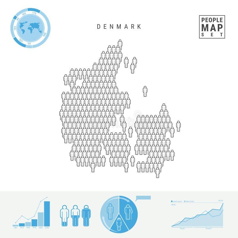 Mapa do ícone dos povos de Dinamarca Silhueta estilizado do vetor de Dinamarca Crescimento demográfico e envelhecimento Infograph ilustração stock