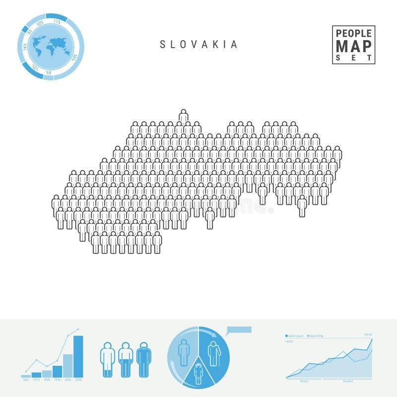 Mapa do ícone dos povos de Eslováquia Silhueta estilizado do vetor de Eslováquia Crescimento demográfico e envelhecimento Infogra ilustração royalty free