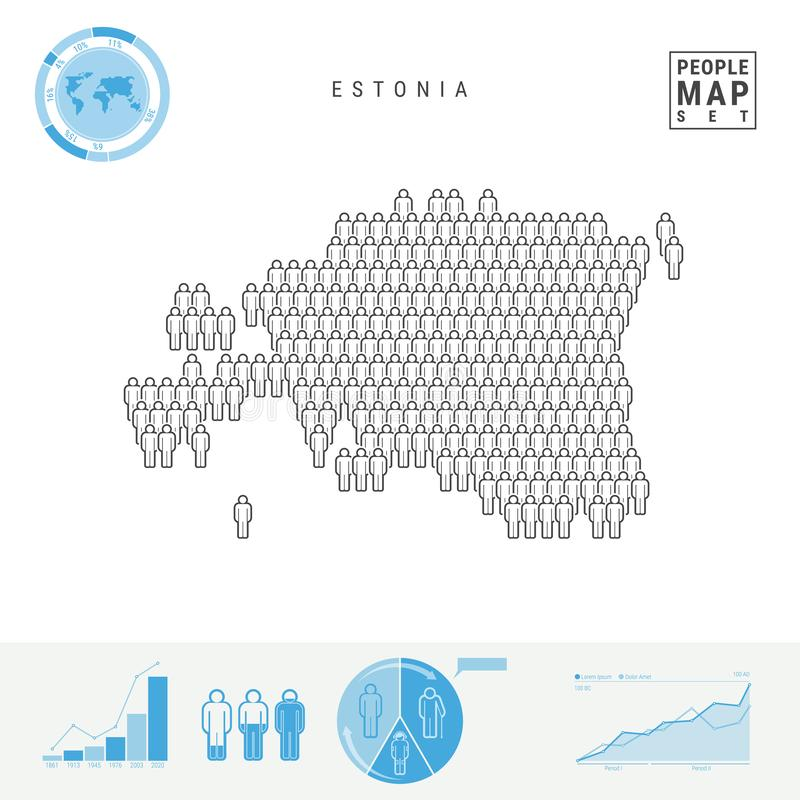 Mapa do ícone dos povos de Estônia Silhueta estilizado do vetor de Estônia Crescimento demográfico e envelhecimento Infographics ilustração royalty free
