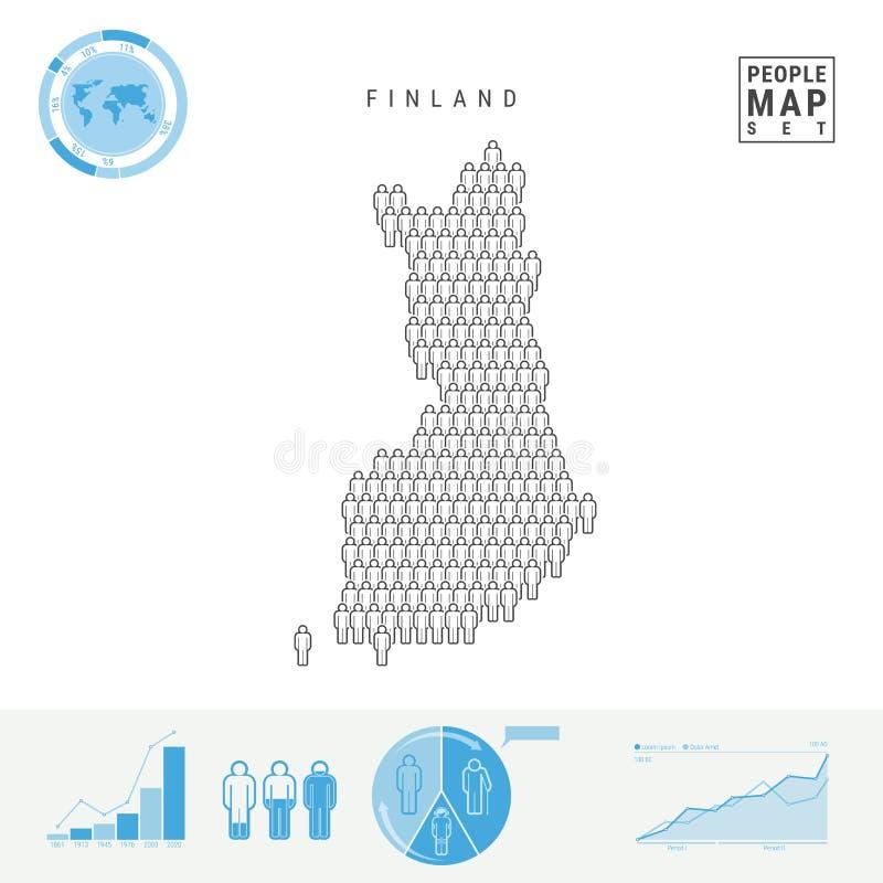 Mapa do ícone dos povos de Finlandia Silhueta estilizado do vetor de Finlandia Crescimento demográfico e envelhecimento Infograph ilustração do vetor