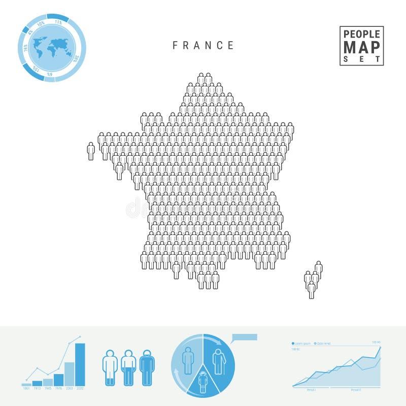 Mapa do ícone dos povos de França Silhueta estilizado do vetor de França Crescimento demográfico e envelhecimento Infographics ilustração do vetor