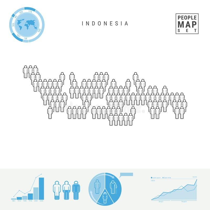 Mapa do ícone dos povos de Indonésia Silhueta estilizado do vetor de Indonésia Crescimento demográfico e envelhecimento Infograph ilustração royalty free