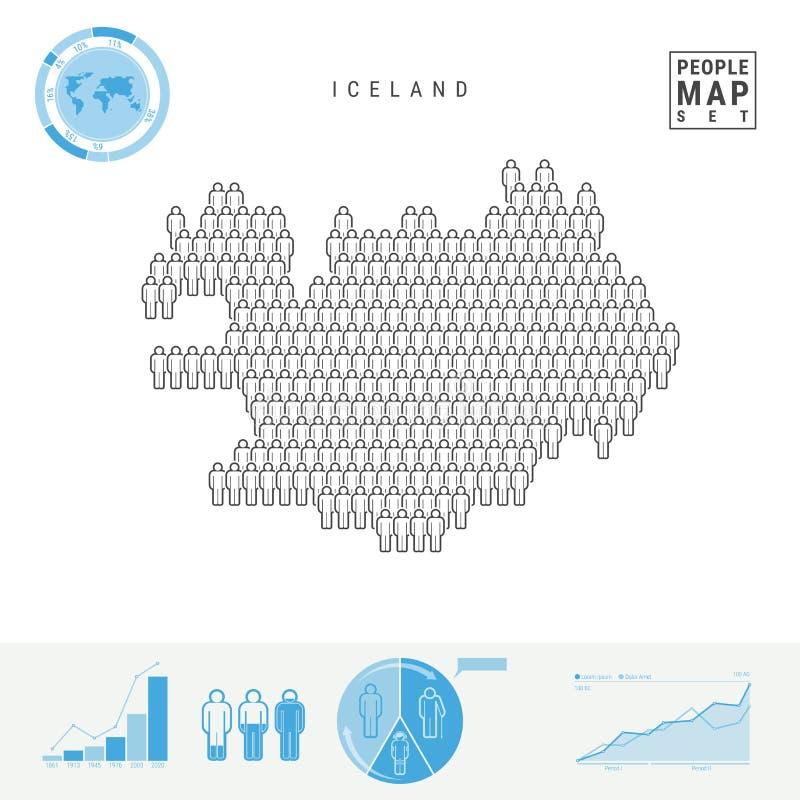 Mapa do ícone dos povos de Islândia Silhueta estilizado do vetor de Islândia Crescimento demográfico e envelhecimento Infographic ilustração do vetor