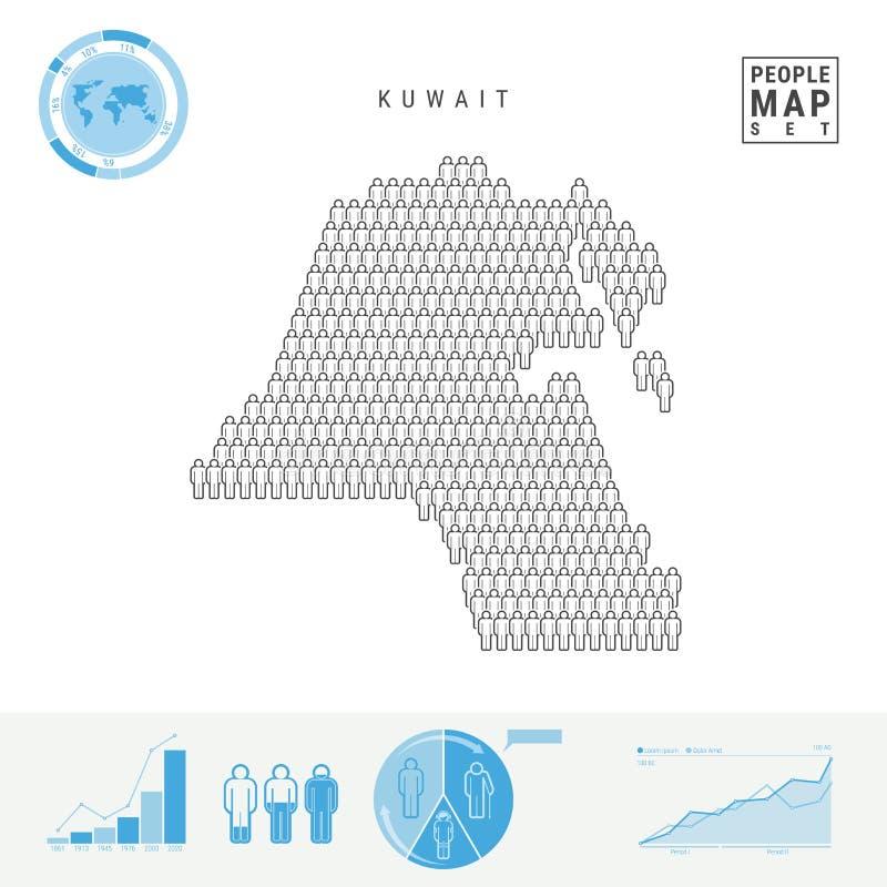 Mapa do ícone dos povos de Kuwait Silhueta estilizado do vetor de Kuwait Crescimento demográfico e envelhecimento Infographics ilustração stock