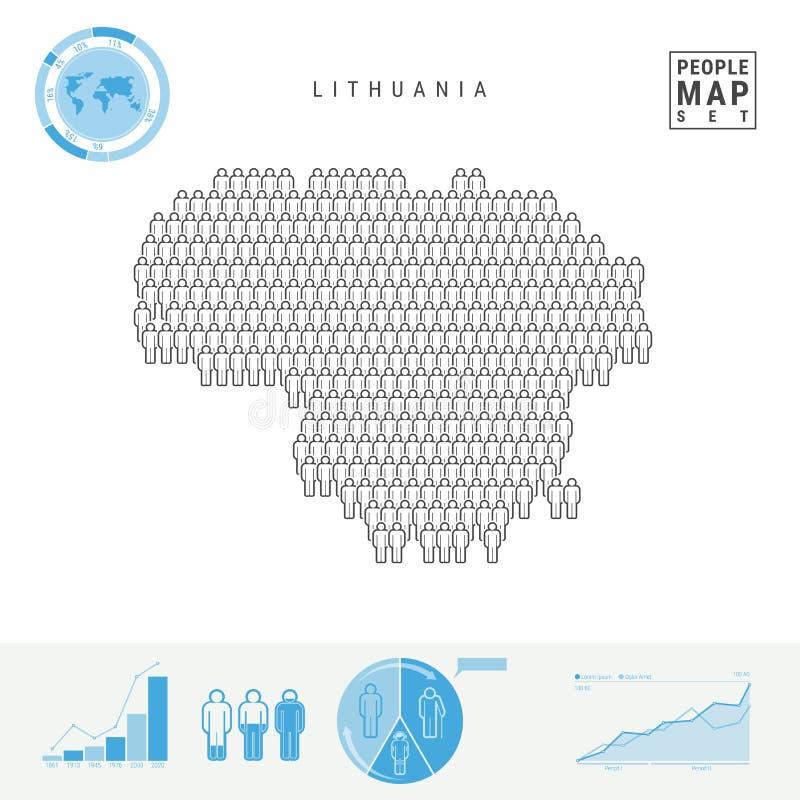 Mapa do ícone dos povos de Lituânia Silhueta estilizado do vetor de Lituânia Crescimento demográfico e envelhecimento Infographic ilustração do vetor