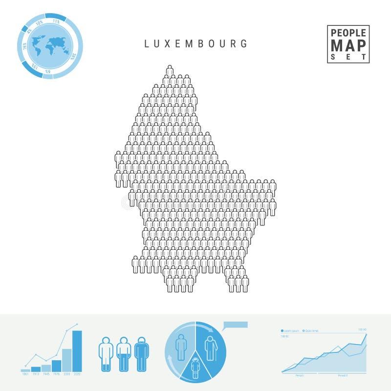 Mapa do ícone dos povos de Luxemburgo Silhueta estilizado do vetor de Luxemburgo Crescimento demográfico e envelhecimento Infogra ilustração stock