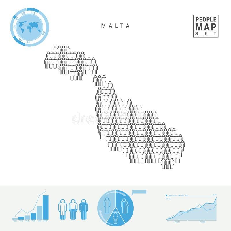 Mapa do ícone dos povos de Malta Silhueta estilizado do vetor de Malta Crescimento demográfico e envelhecimento Infographics ilustração do vetor