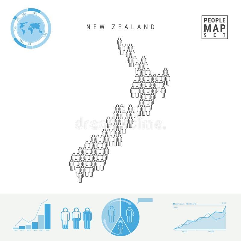 Mapa do ícone dos povos de Nova Zelândia Silhueta estilizado do vetor de Nova Zelândia Crescimento demográfico e envelhecimento I ilustração royalty free