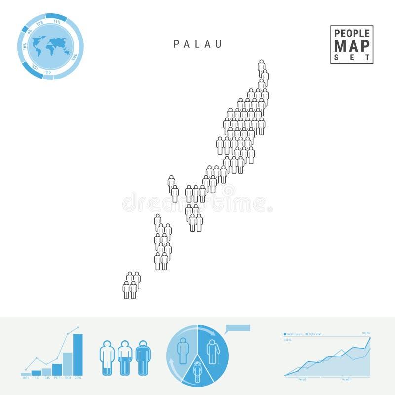 Mapa do ícone dos povos de Palau Silhueta estilizado do vetor de Palau Crescimento demográfico e envelhecimento Infographics ilustração stock