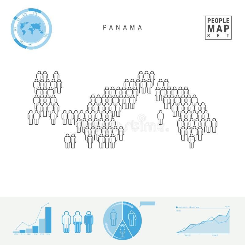 Mapa do ícone dos povos de Panamá Silhueta estilizado do vetor de Panamá Crescimento demográfico e envelhecimento Infographics ilustração royalty free