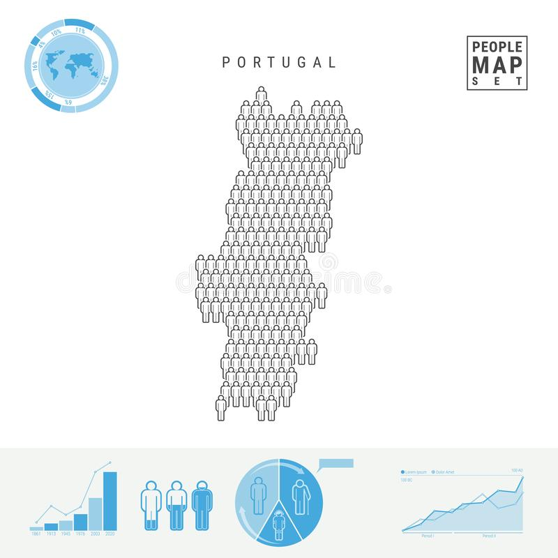 Mapa do ícone dos povos de Portugal Silhueta estilizado do vetor de Portugal Crescimento demográfico e envelhecimento Infographic ilustração royalty free