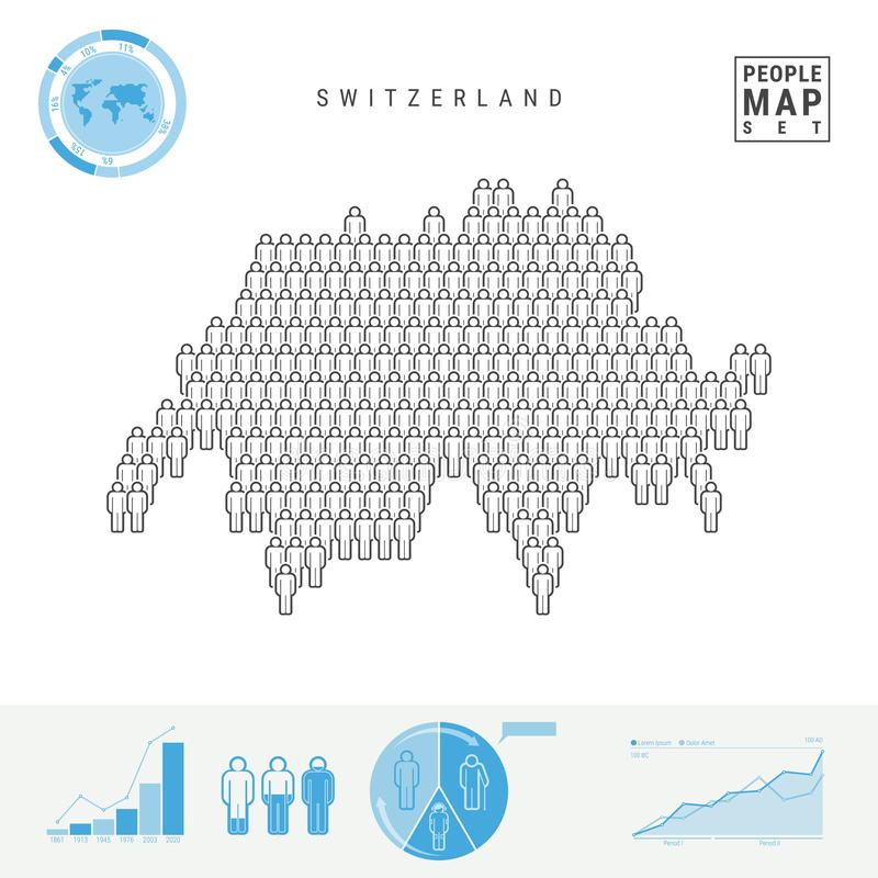 Mapa do ícone dos povos de Suíça Silhueta estilizado do vetor de Suíça Crescimento demográfico e envelhecimento Infographics ilustração royalty free