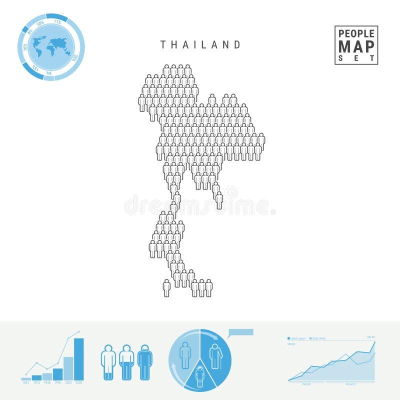 Mapa do ícone dos povos de Tailândia Silhueta estilizado do vetor de Tailândia Crescimento demográfico e envelhecimento Infograph ilustração do vetor