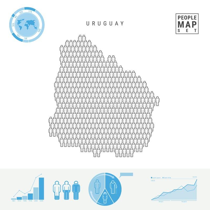 Mapa do ícone dos povos de Uruguai Silhueta estilizado do vetor de Uruguai Crescimento demográfico e envelhecimento Infographics ilustração royalty free