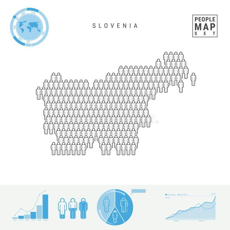 Mapa do ícone dos povos do Eslovênia Silhueta estilizado do vetor do Eslovênia Crescimento demográfico e envelhecimento Infograph ilustração royalty free