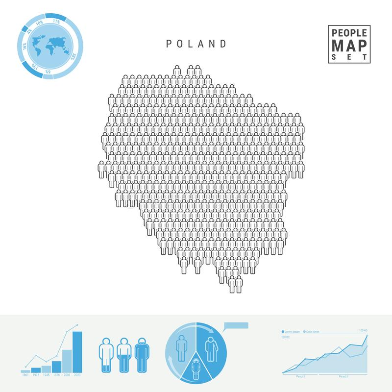 Mapa do ícone dos povos do Polônia Silhueta estilizado do vetor do Polônia Crescimento demográfico e envelhecimento Infographics ilustração royalty free