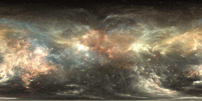 Mapa do ambiente 360 HDRI da realidade virtual Projeção equirectangular do espaço, panorama esférico Nebulosa do espaço com estre ilustração stock