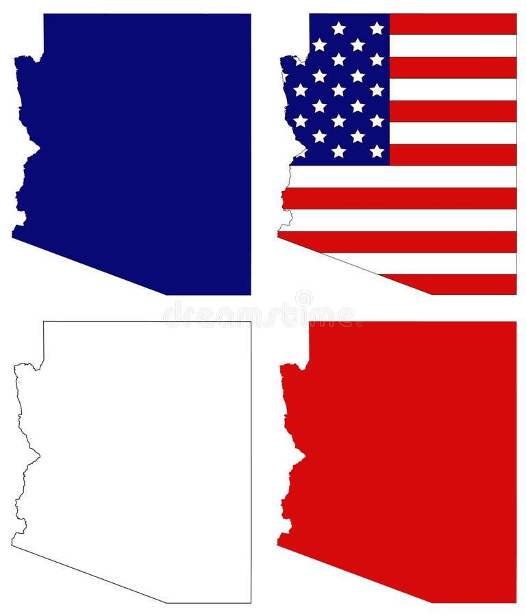 Mapa do Arizona com bandeira dos EUA - estado na região do sudoeste do Estados Unidos ilustração royalty free