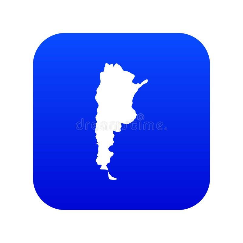 Mapa do azul digital do ícone de Argentina ilustração do vetor
