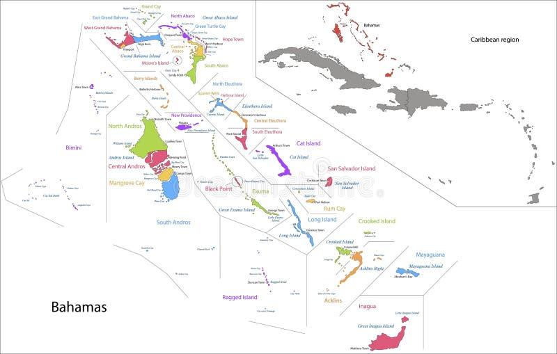 Mapa do Bahamas ilustração royalty free