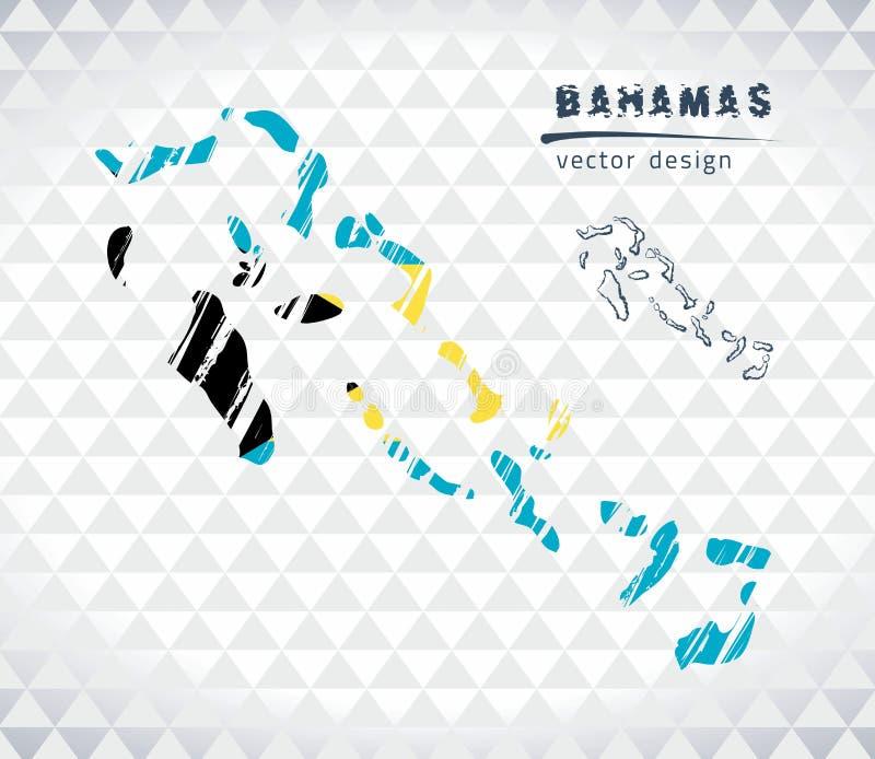 Mapa do Bahamas com o mapa tirado mão da pena do esboço para dentro Ilustração do vetor ilustração royalty free