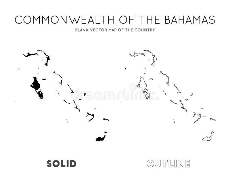 Mapa do Bahamas ilustração stock