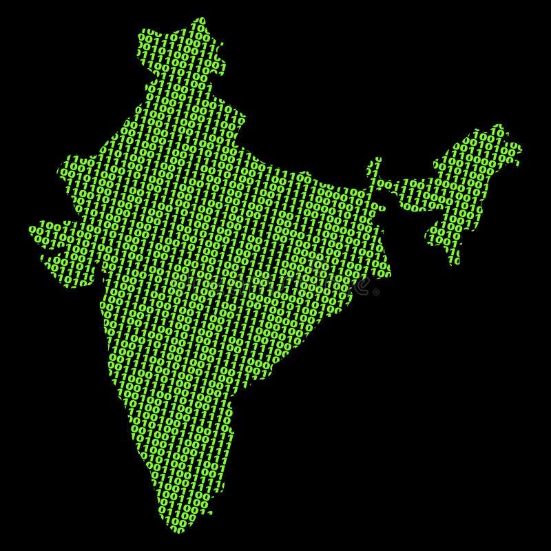 Mapa do binário de India ilustração do vetor