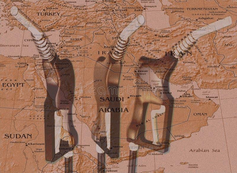 Mapa do bocal & do Médio Oriente de gás ilustração stock