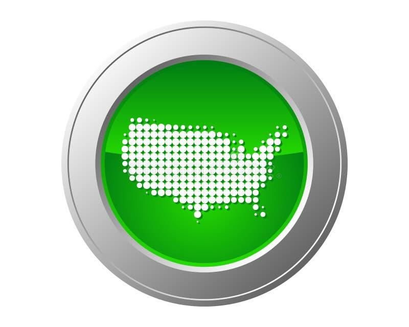 Mapa do botão dos EUA ilustração royalty free