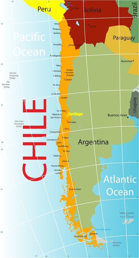 Mapa do Chile. ilustração stock