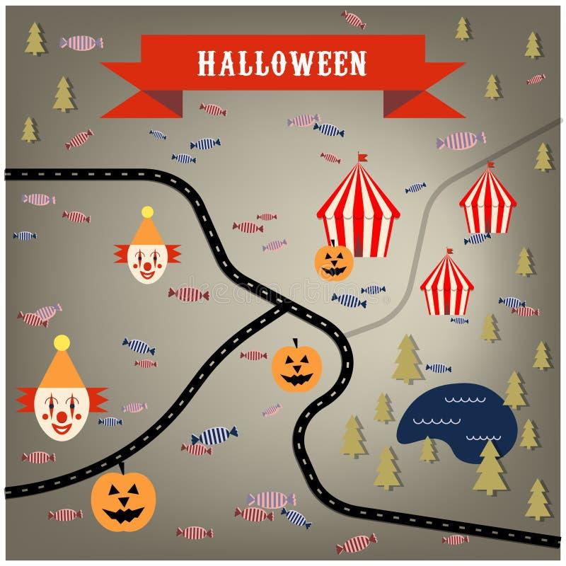 Mapa do circo de Dia das Bruxas com palhaços, abóboras, floresta, lago ilustração do vetor