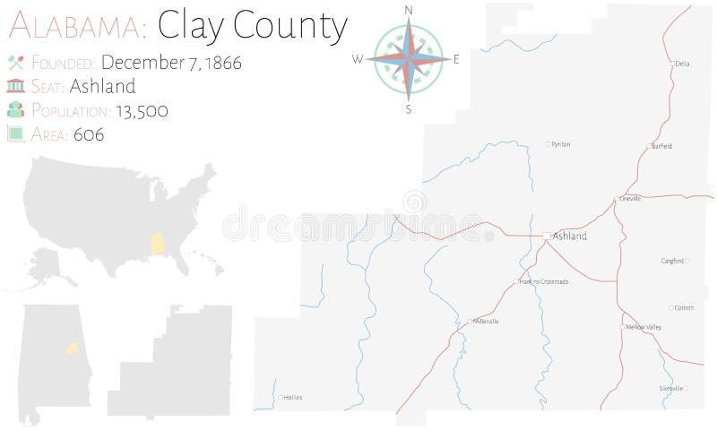 Mapa do Condado de Clay em Alabama ilustração royalty free