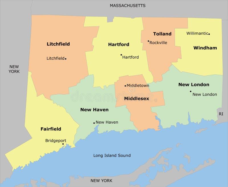 Mapa do condado de Connecticut ilustração stock
