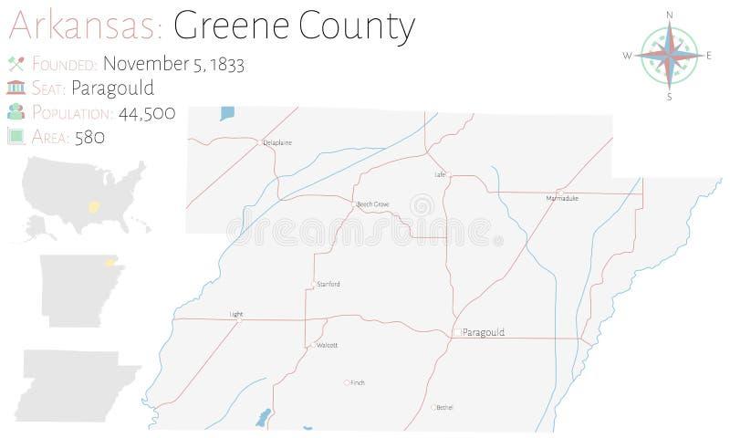 Mapa do Condado de Greene em Arkansas ilustração stock