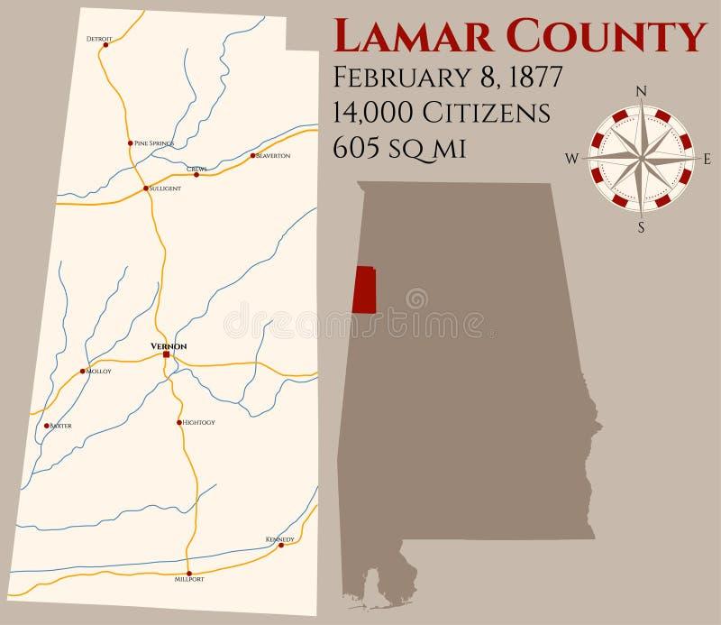 Mapa do Condado de Lamar em Alabama ilustração royalty free