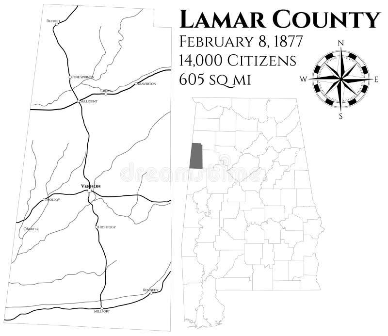 Mapa do Condado de Lamar em Alabama ilustração do vetor