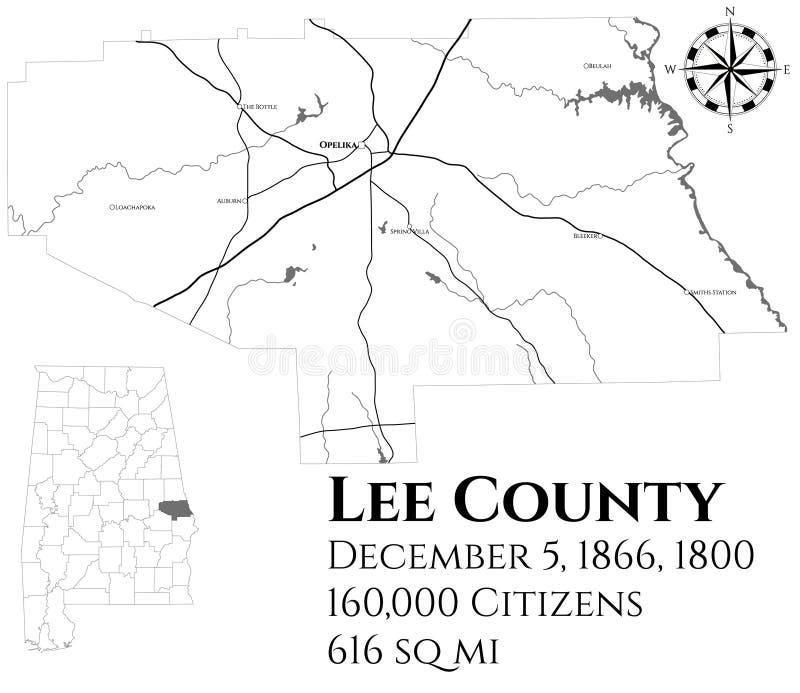 Mapa do Condado de Lee em Alabama ilustração do vetor