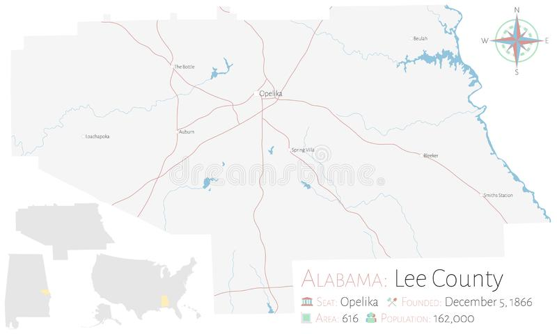 Mapa do Condado de Lee em Alabama ilustração stock
