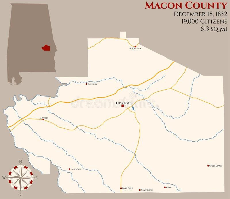Mapa do Condado de Macon em Alabama ilustração royalty free