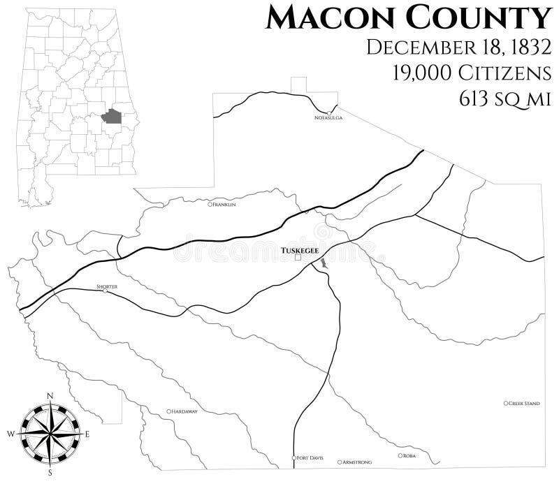 Mapa do Condado de Macon em Alabama ilustração do vetor