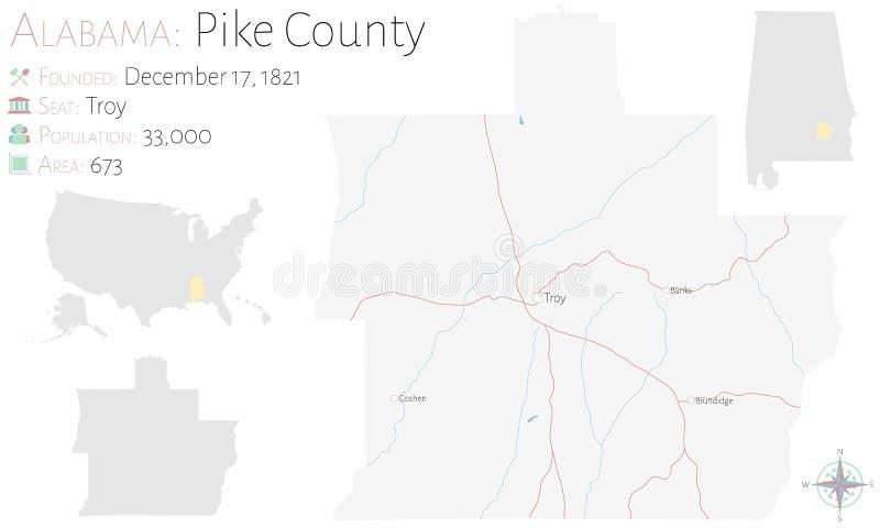 Mapa do Condado de Pike em Alabama ilustração stock