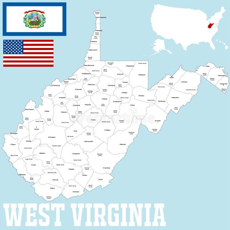 Mapa do condado de West Virginia ilustração do vetor