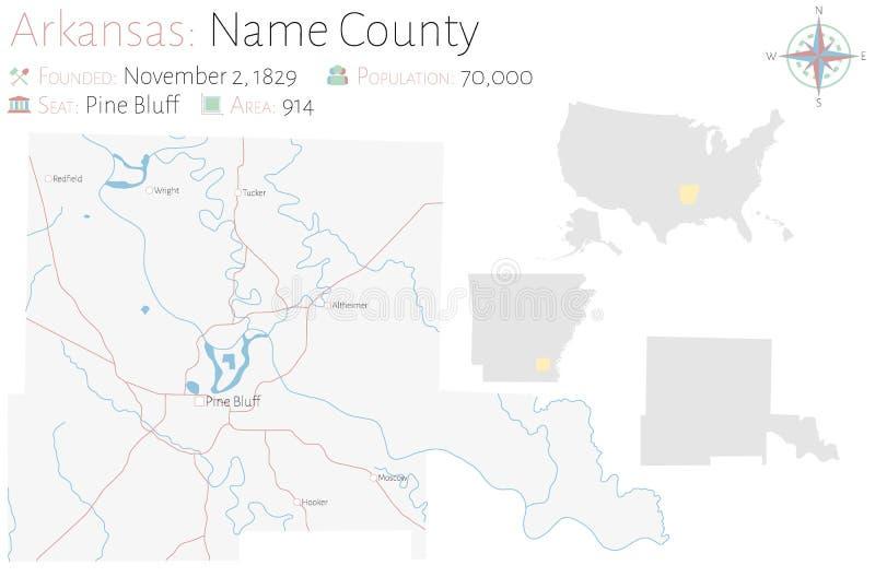 Mapa do condado do nome em Arkansas ilustração royalty free
