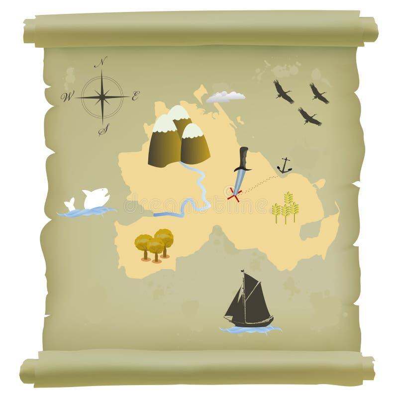 Mapa do console do tesouro ilustração stock