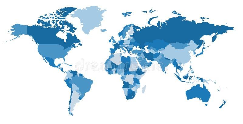 Mapa do continente e do país da cor mapa político ilustração stock